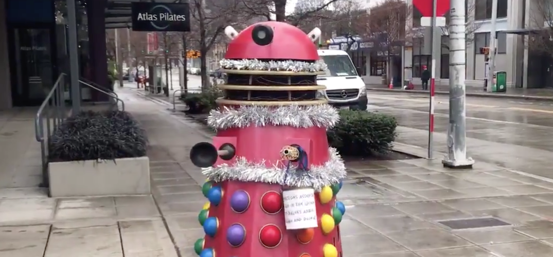 A festive Dalek has been spotted in Downtown Seattle