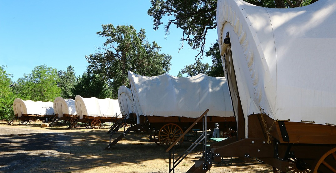 Glamp in style in these covered wagons at Yosemite National Park