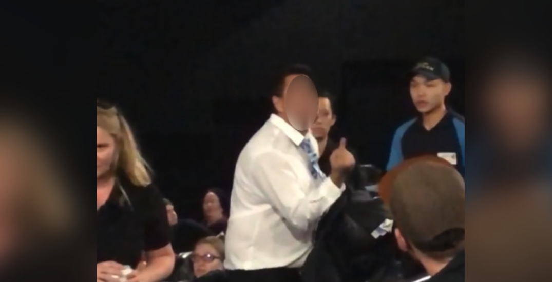 Man escorted from Vancouver theatre after yelling, swearing at patrons (VIDEO)