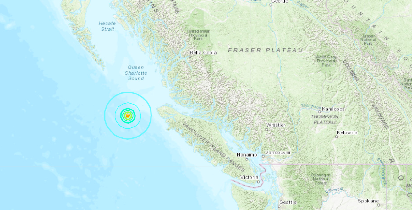 A second stronger earthquake just struck the coast of Vancouver Island