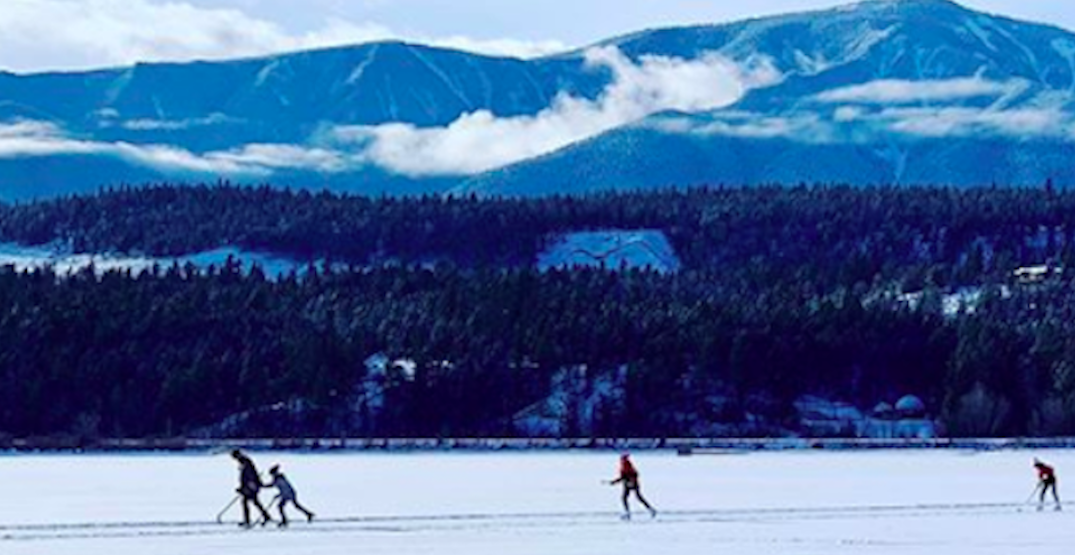 This BC lake's frozen skating trail was named the longest in the world