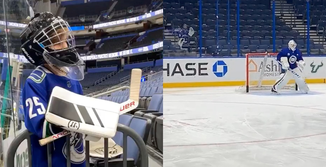 Cute Kid Mimics Markstrom S Every Move At Canucks Practice Video Offside