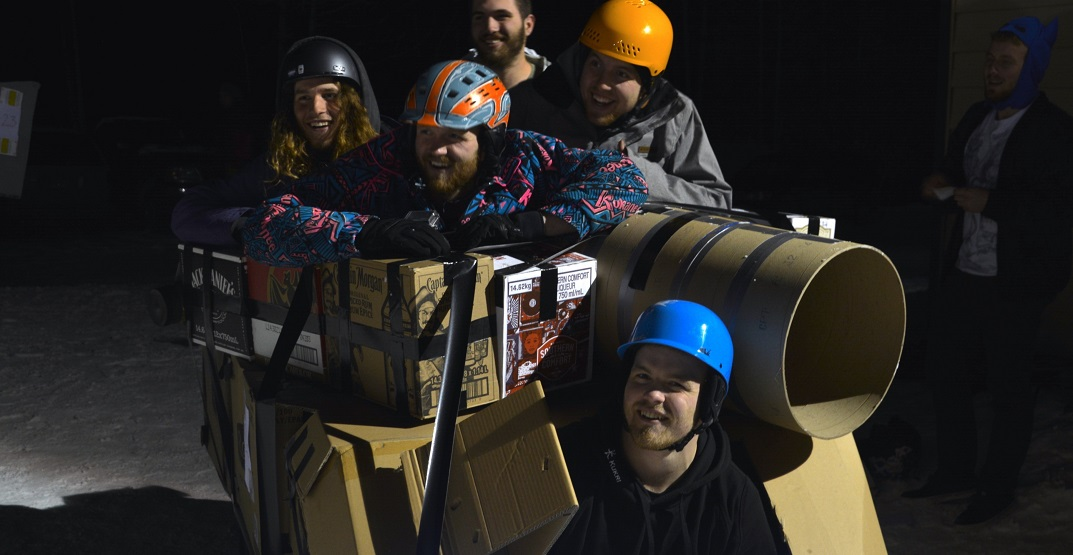 Race down a snowy hill at this Banff cardboard sled derby