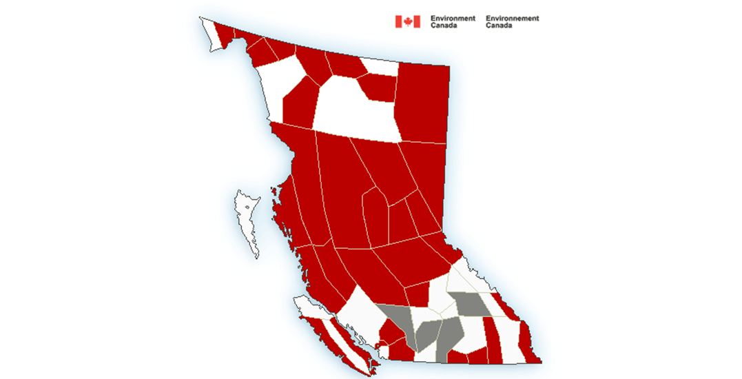 There are 38 weather warnings in effect across BC right now
