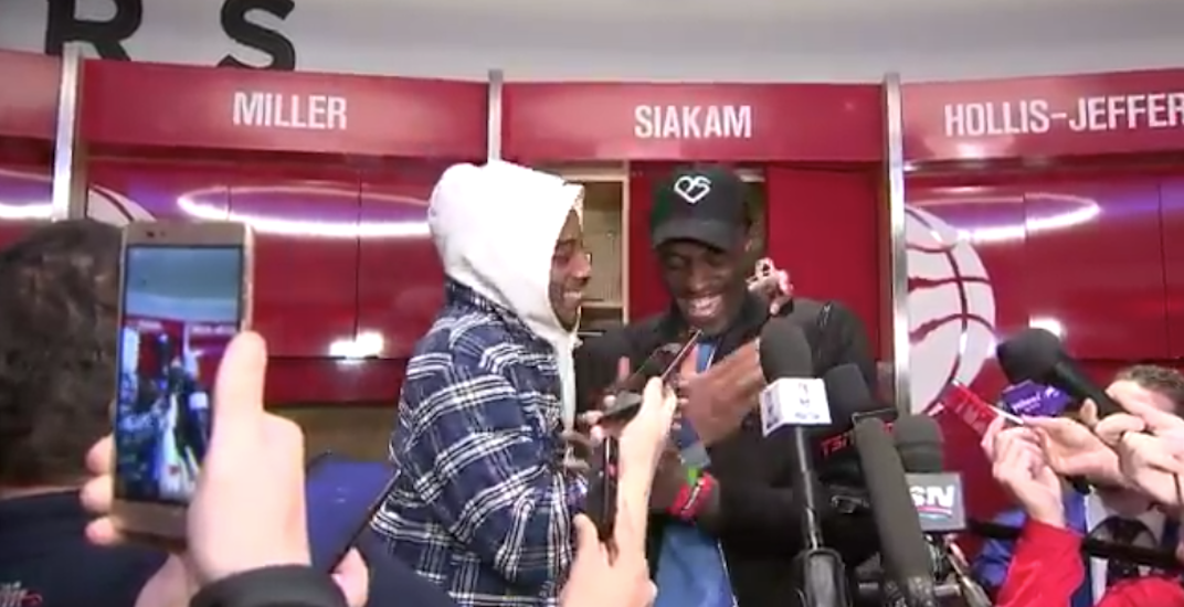 DeRozan crashes Siakam's post-game media scrum in Raptors locker room (VIDEO)