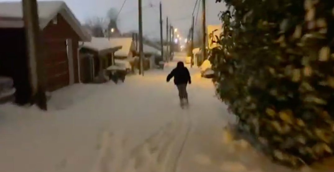 People were skiing down streets in East Vancouver on Sunday night (VIDEO)