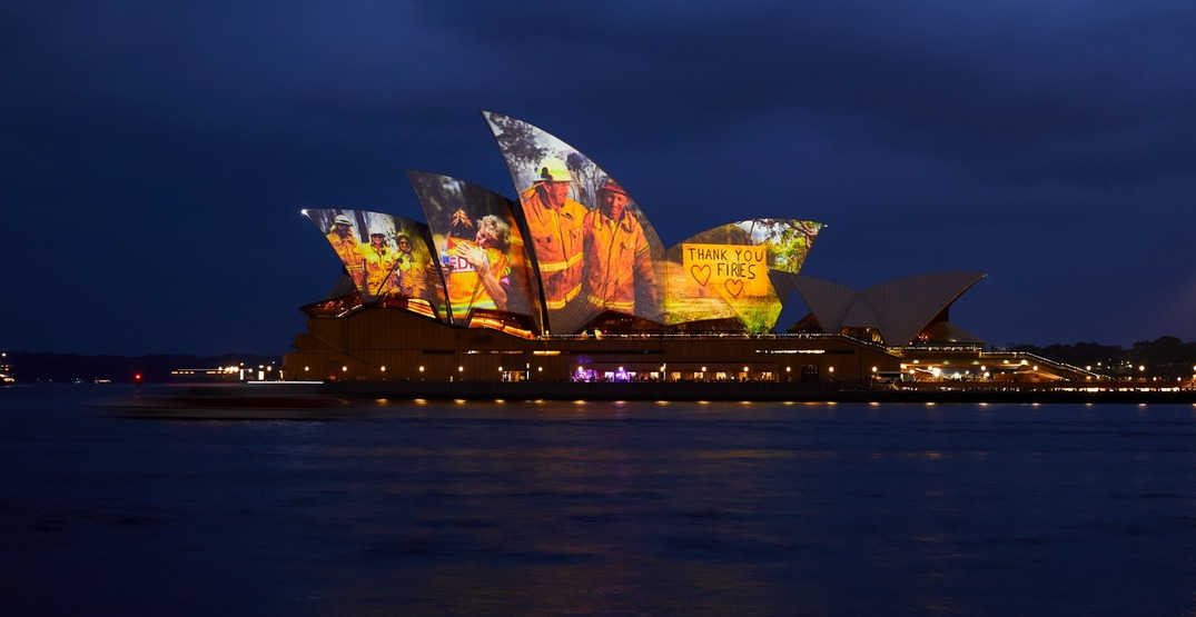 Sydney Opera House lights up to honour firefighters battling Australian bushfires