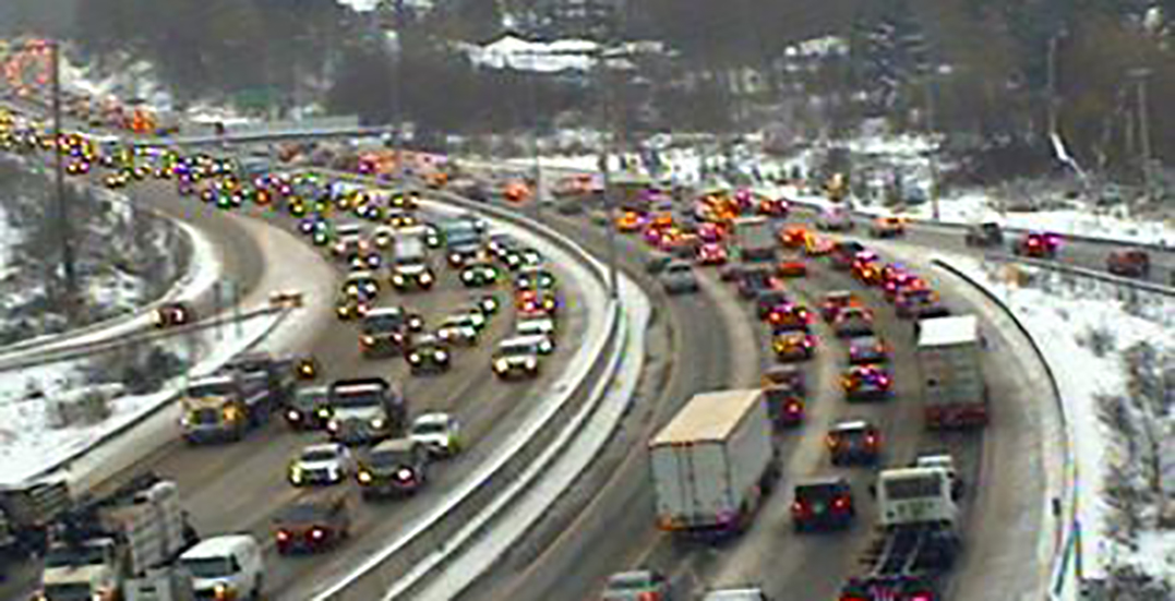 Difficult winter travel conditions causing major traffic delays on Highway 1