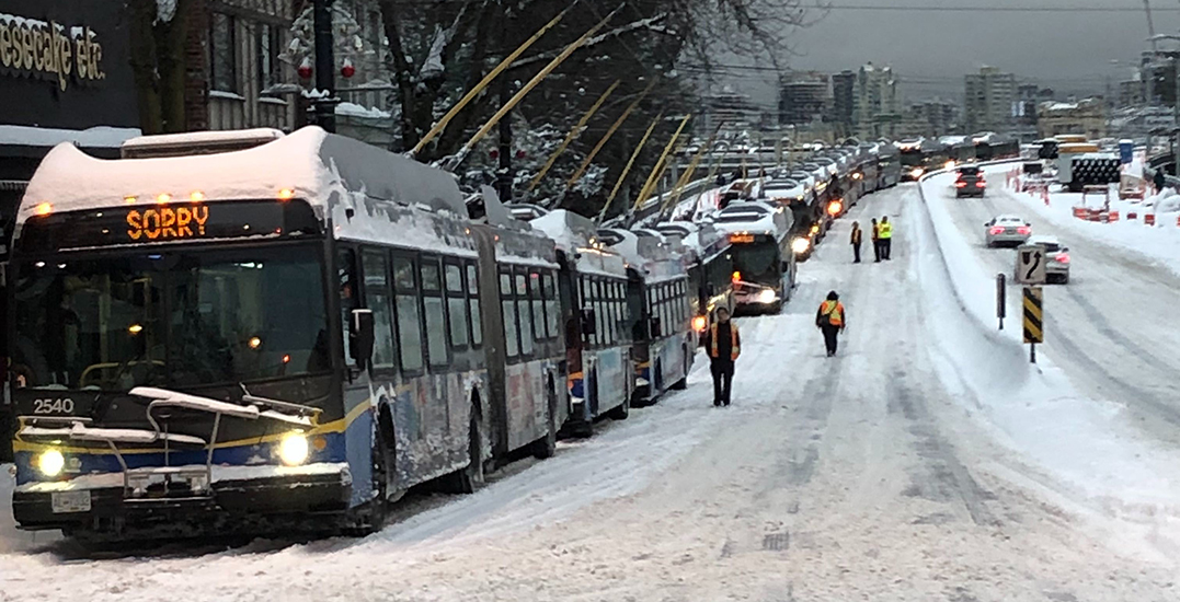 More than a dozen buses trapped on Vancouver's Granville Street Bridge