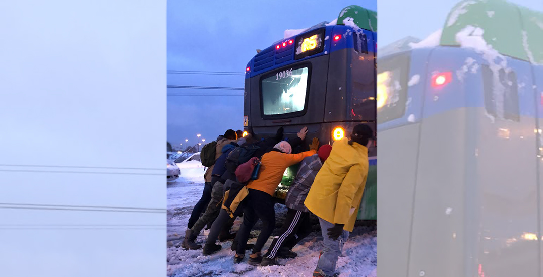 Vancouver transit is so bad right now people had to push a bus up a hill