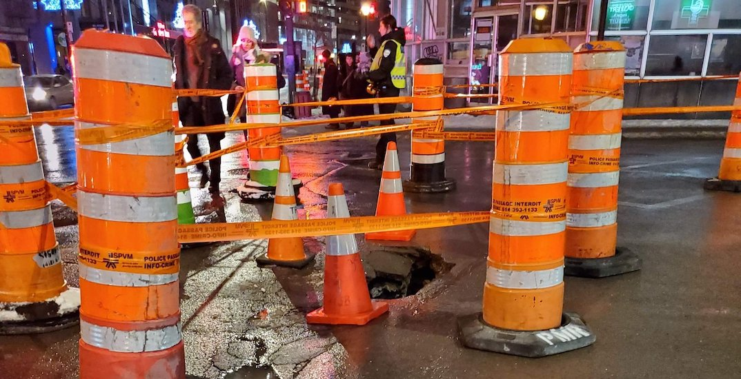 Mega pothole closed parts of Parc Avenue last night