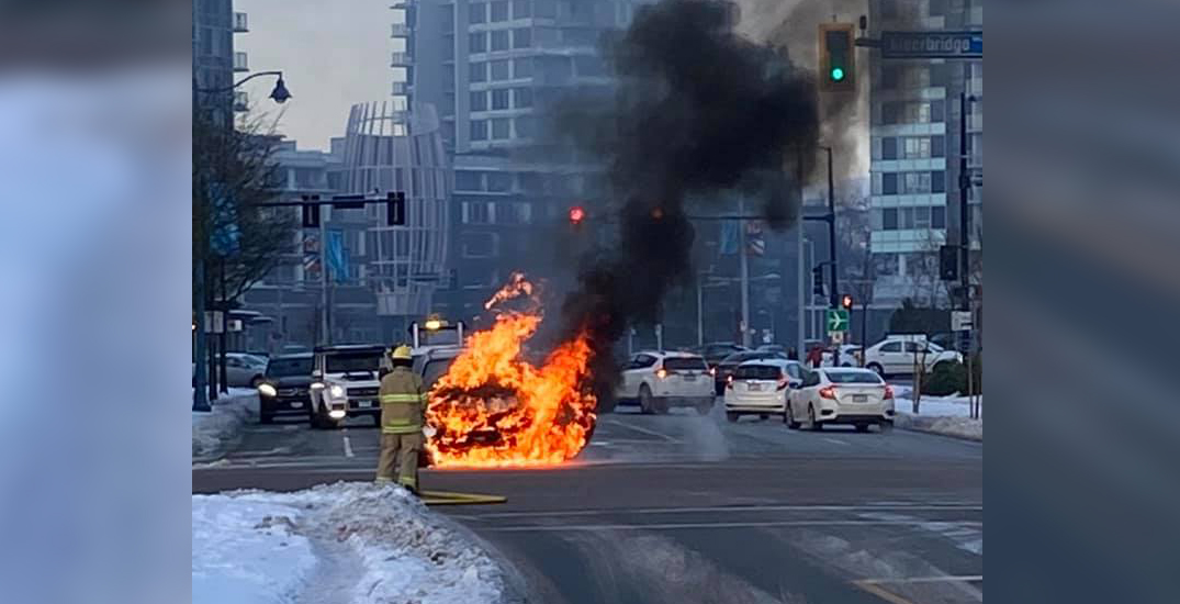 Witness captures photo of fire engulfing car at Richmond intersection