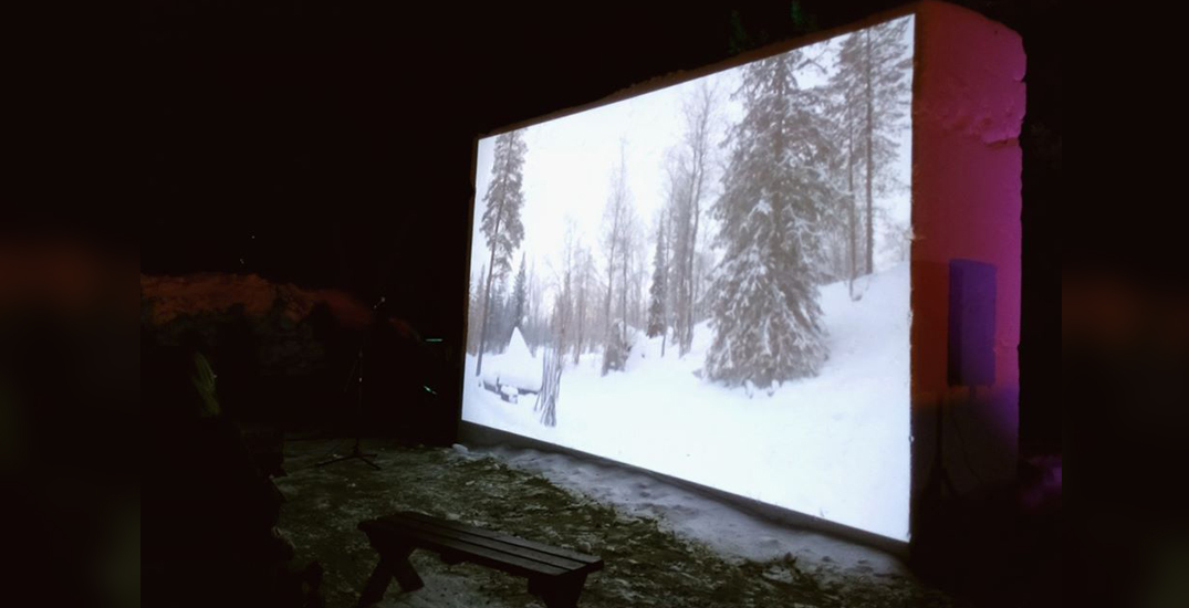 You can watch winter movies at a theatre made of snow in Edmonton