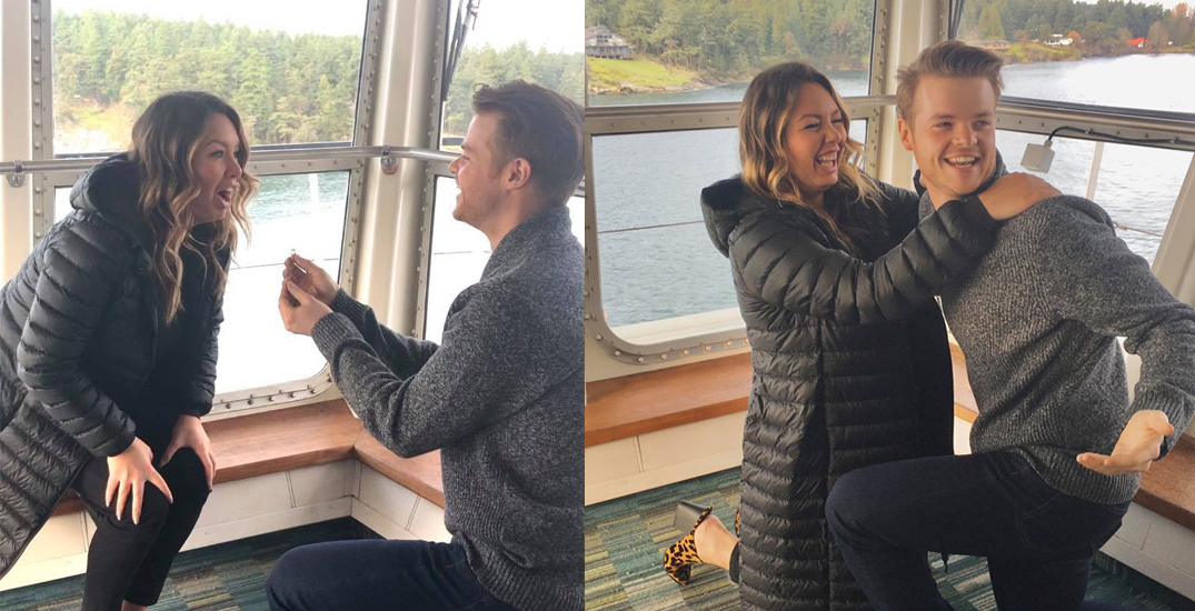 Long-distance couple pulls off adorable proposal aboard BC Ferries