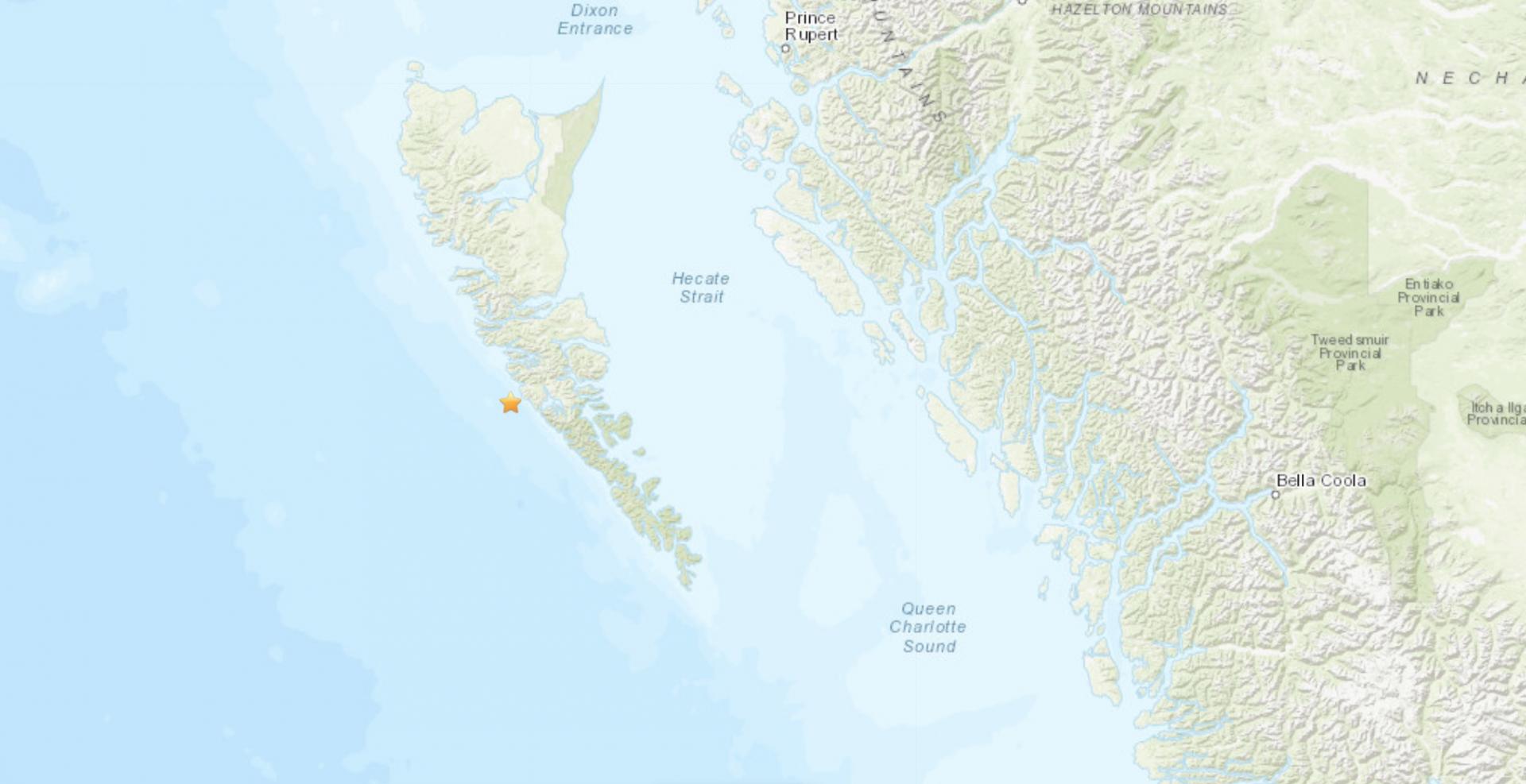 Magnitude 4.0 earthquake strikes off coast of Haida Gwaii