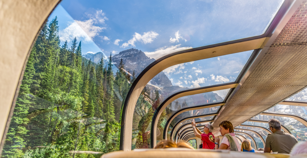 Take in stunning views of the Canadian Rockies from the comfort of this glass-domed train