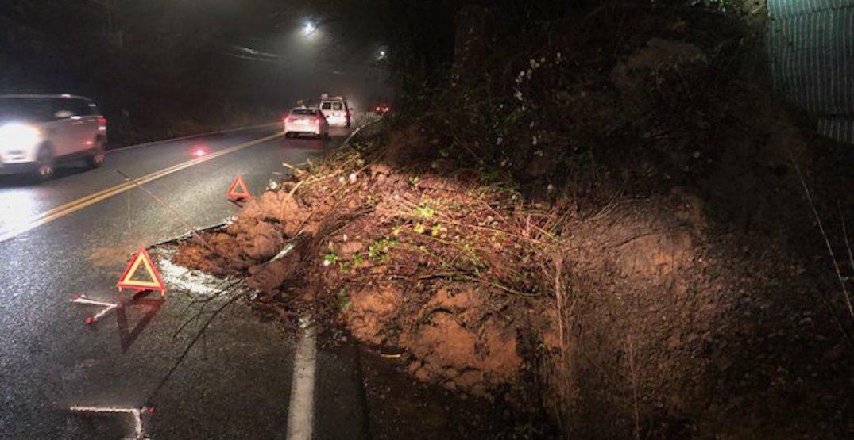 West Burnside at SW Barnes closed in both directions due to landslide debris