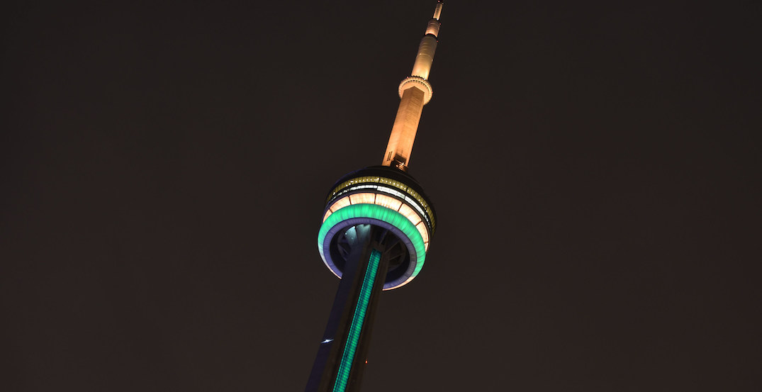 CN Tower and Toronto sign lighting up to show support for Australia this weekend