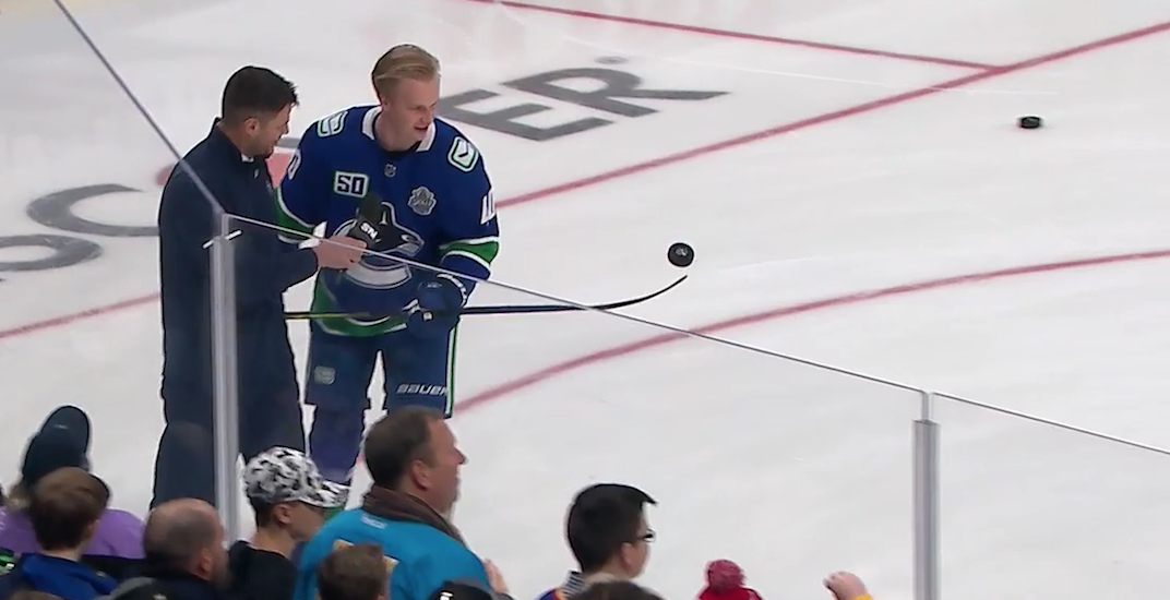 Bieksa has fun with Canucks players at NHL All-Star Skills Competition