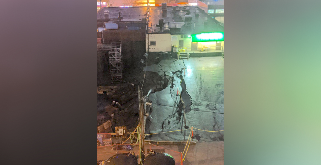 Collapse of construction pit next to Congee Noodle House in Vancouver