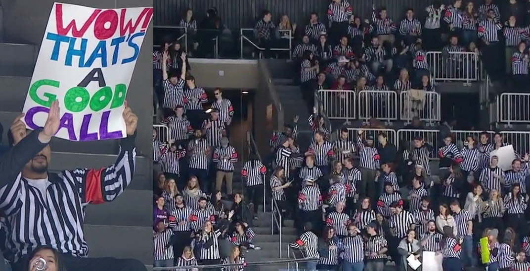 Hundreds of fans came to cheer on the referees at the Canucks game in New York