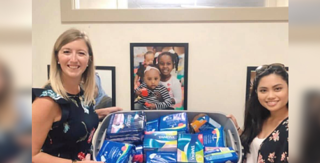 No Woman Without collects tampon and pad donations for women in need