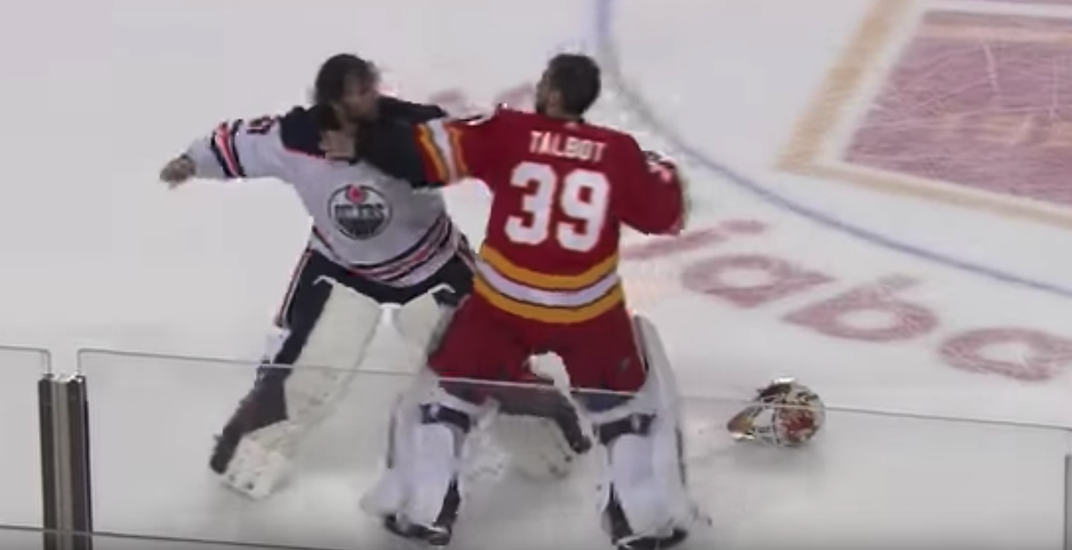 Talbot's wife was mad at him for participating in Flames-Oilers goalie fight