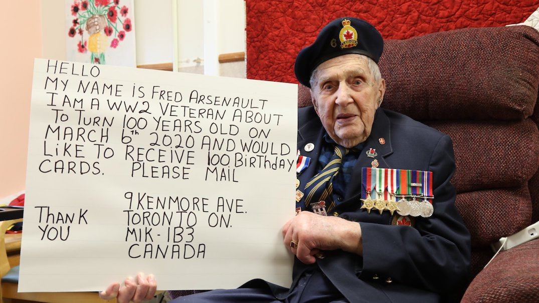Canadians encouraged to send World War II veteran cards for his 100th birthday
