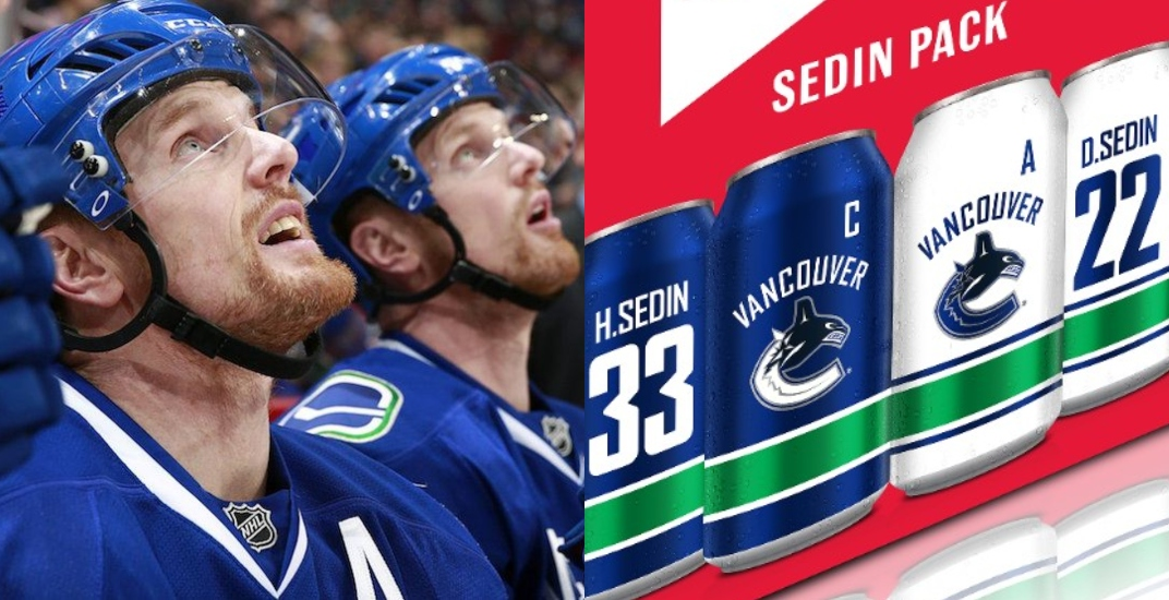 You can buy Canucks-themed Sedin beer at the liquor store right now