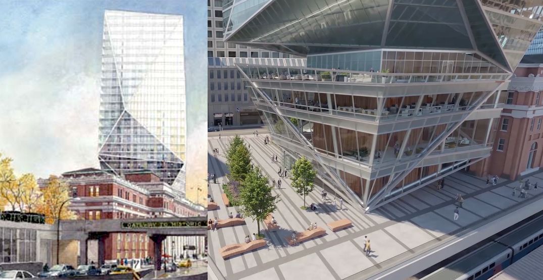 Revised 26-storey crystal office tower proposal for Waterfront Station (RENDERINGS)