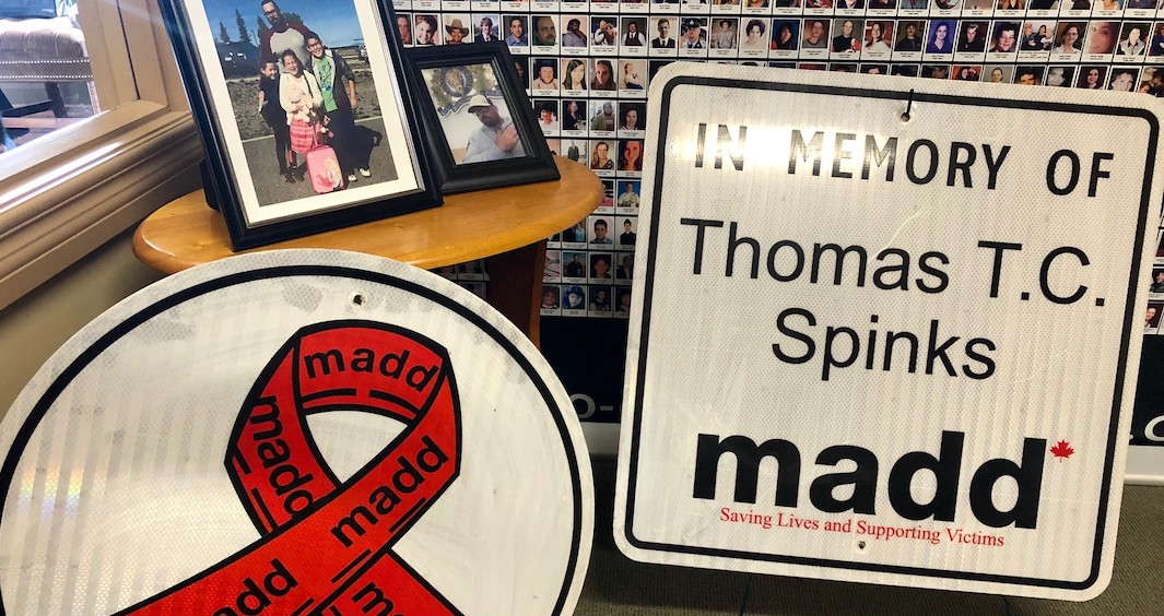 Roadside memorial sign honours victim who died in alcohol-related crash