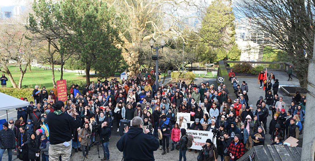 Demonstrators gather at Vancouver City Hall in solidarity with Wet'suwet'en