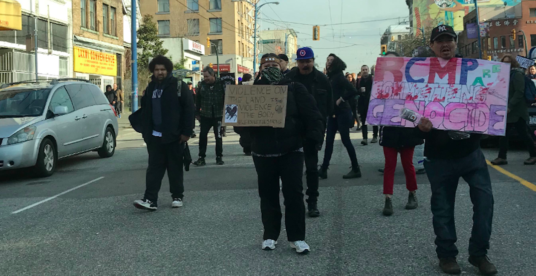 Wet'suwet'en supporters are continuing to protest in Vancouver today