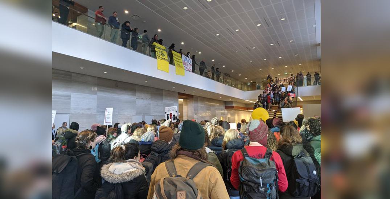 Wet'suwet'en solidarity rally fills downtown Edmonton building's lobby