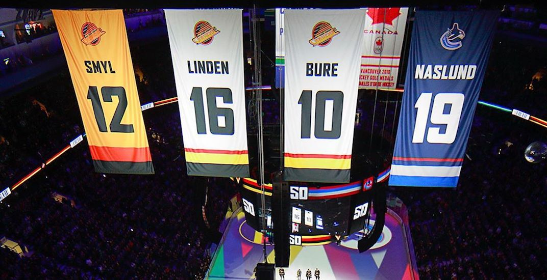 Canucks welcome back Linden, Naslund, and unveil new colourful banners