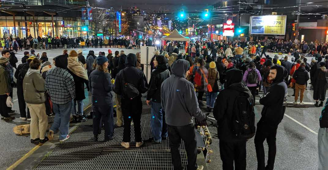 Demonstrators continue to shut down Broadway and Cambie late into Tuesday night