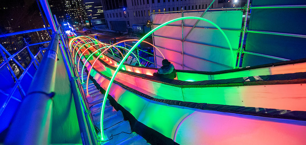 Glide down this giant free illuminated slide for the rest of February