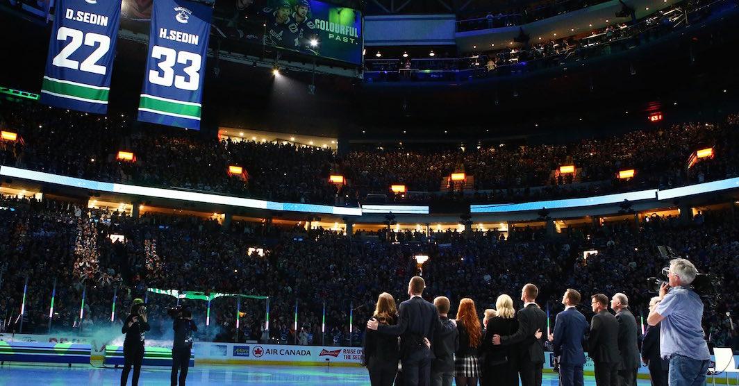 Canucks retire Sedin twins' jerseys in heartwarming ceremony (VIDEO)