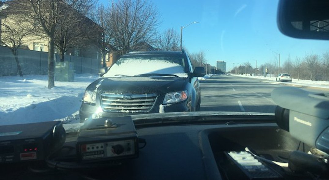 """Shocking, but true"": Driver pulled over with snow covered windshield"