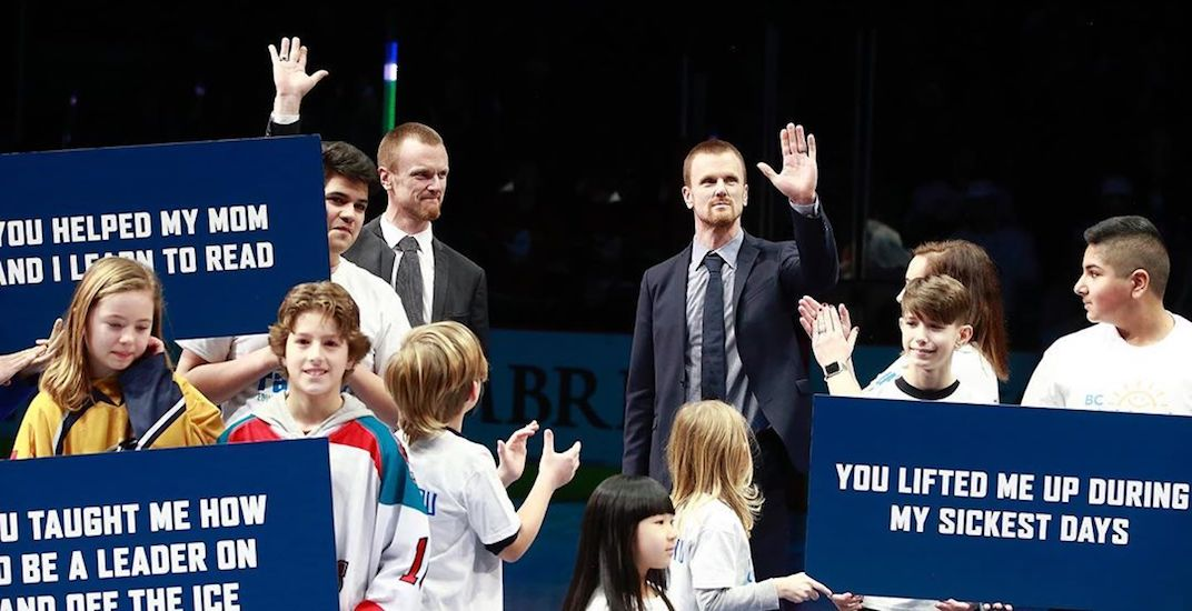 Canucks honour Sedins for their charitable work in pre-game ceremony (VIDEO)