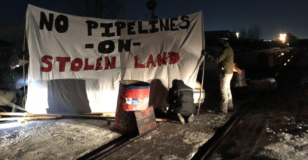 Demonstrators block CN rail near Edmonton in solidarity with Wet'suwet'en