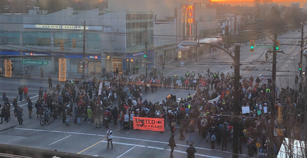 UPDATED: Commercial and Broadway completely blocked due to anti-pipeline demonstration