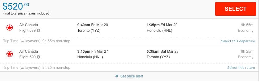 Toronto to Honolulu