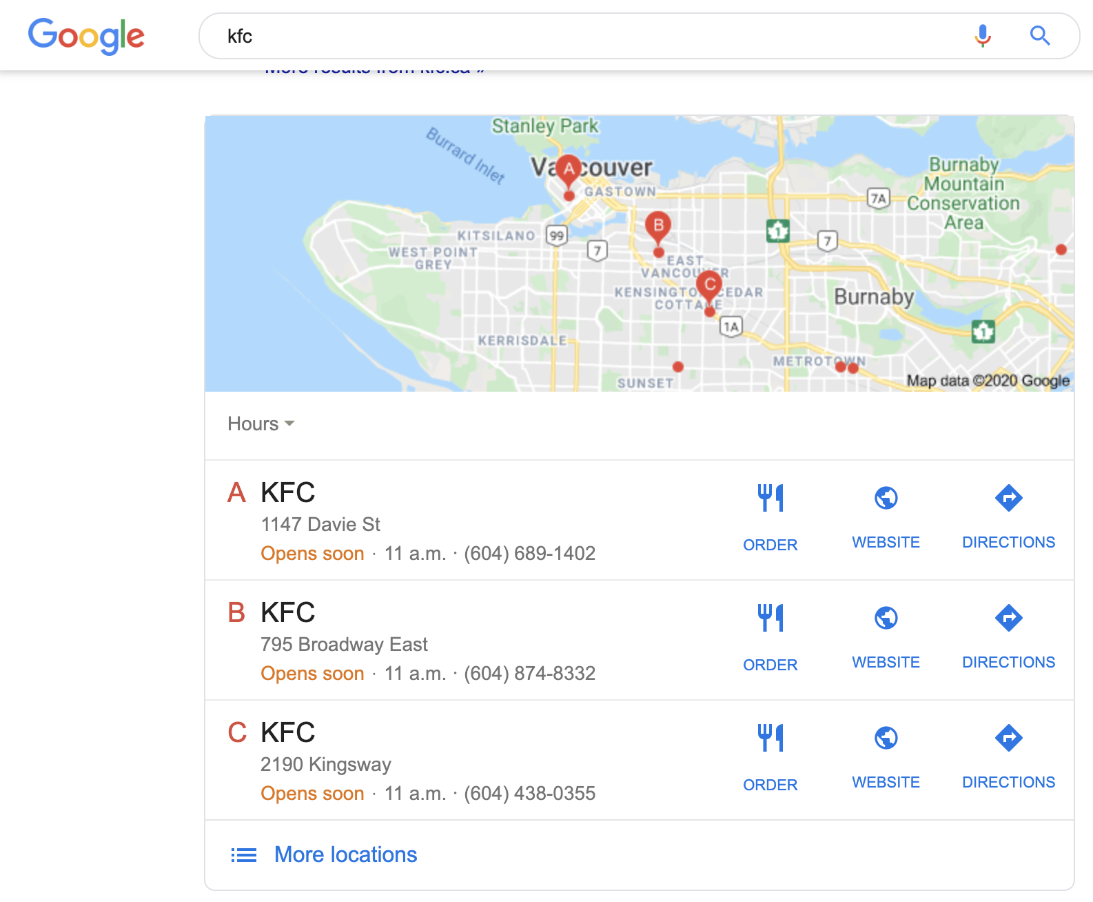KFC Google ordering