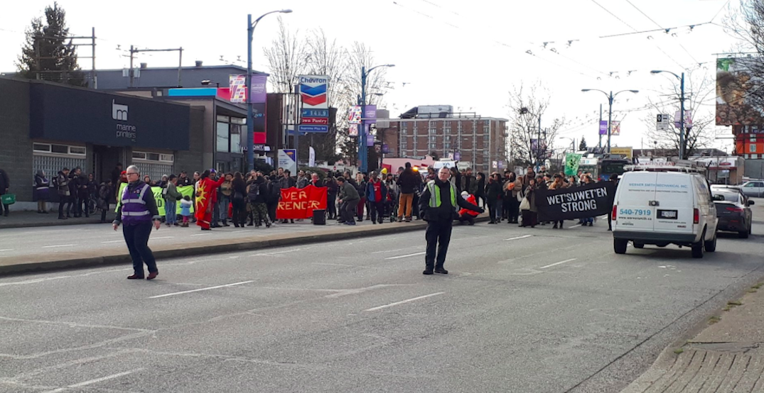 Hastings and Clark Drive blocked due to anti-pipeline demonstration