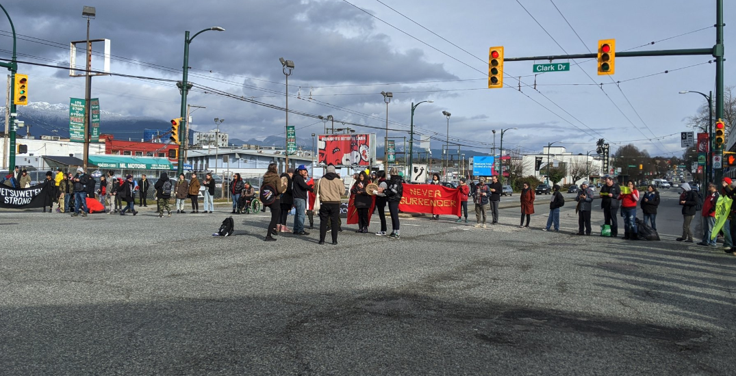 Demonstrators continue to block intersection at Hastings Street and Clark Drive