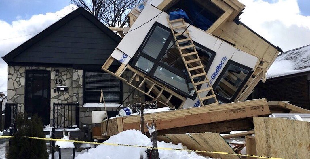Strong winds likely culprit in unfinished house collapsing onto neighbours