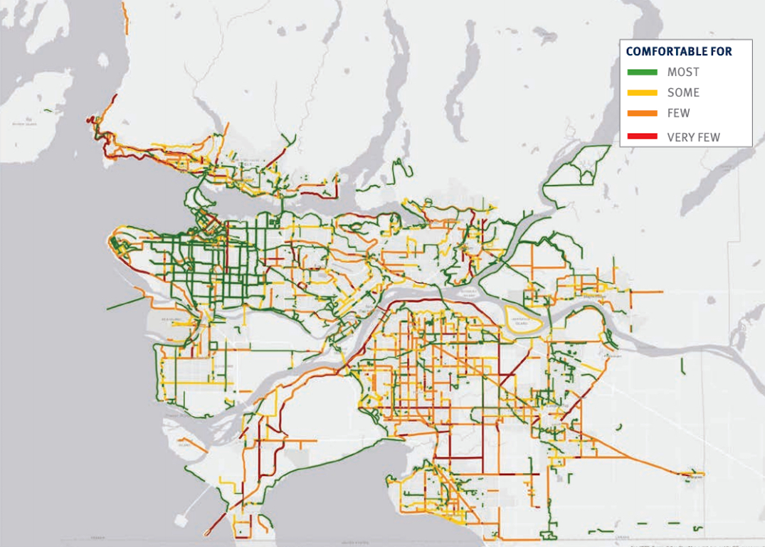metro vancouver cycling network map comfort