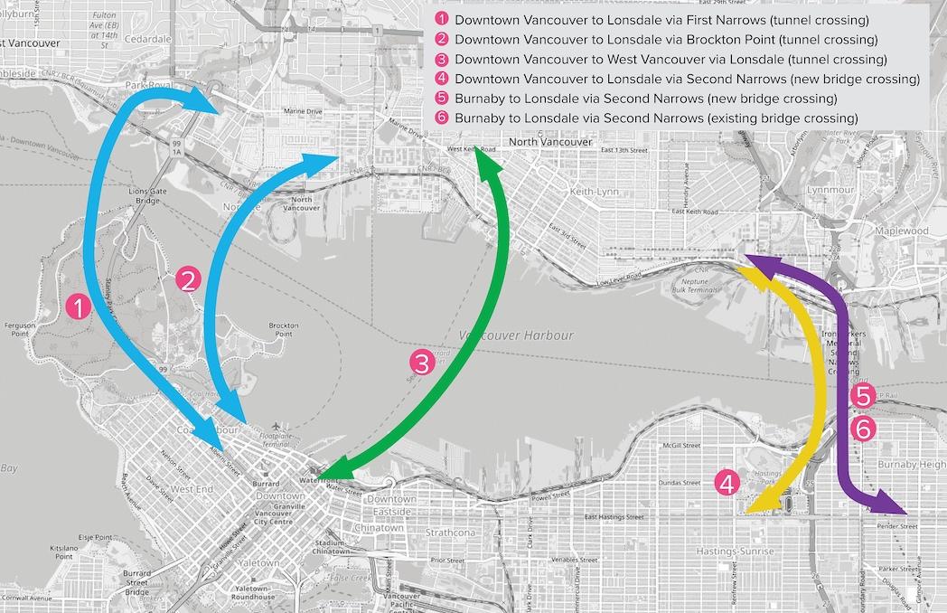 north shore rapid transit crossing options map
