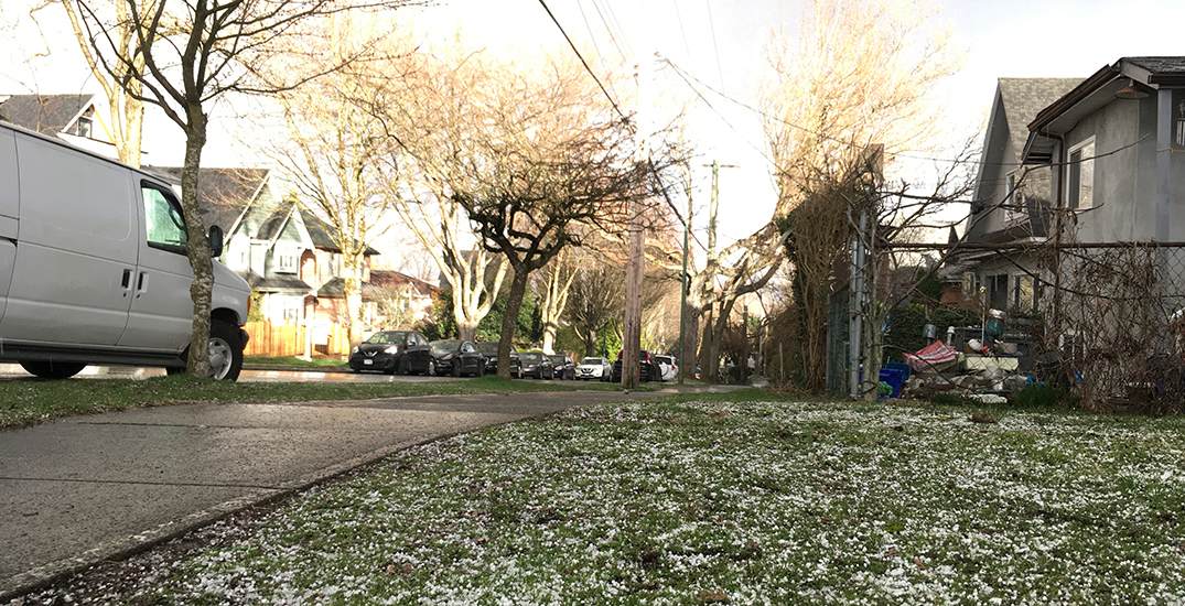 East Vancouver saw a sudden hailstorm Saturday
